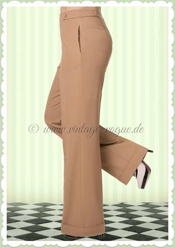 Banned 50er Jahre Rockabilly Marlene Hose - Party On - Sand Beige