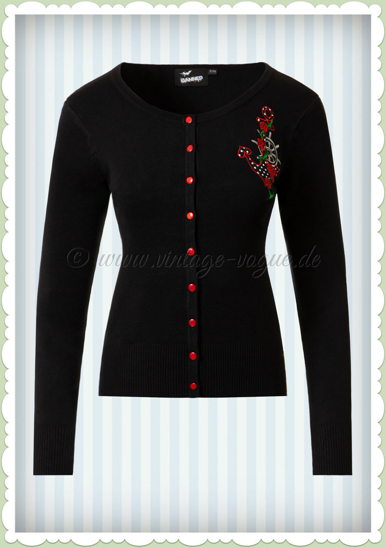 Banned 50er Jahre Vintage Pin Up Anker Rosen Cardigan - Anchor - Schwarz