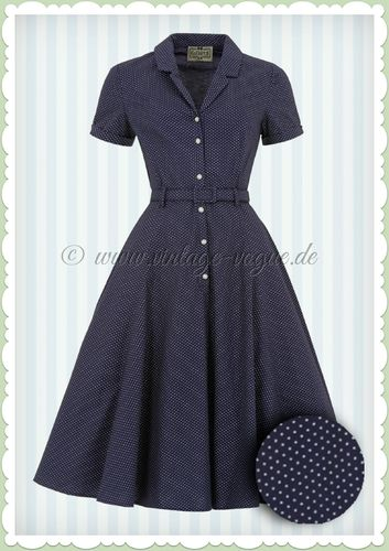 Collectif 40er Jahre Rockabilly Polka Punkte Kleid - Caterina - Navy Blau
