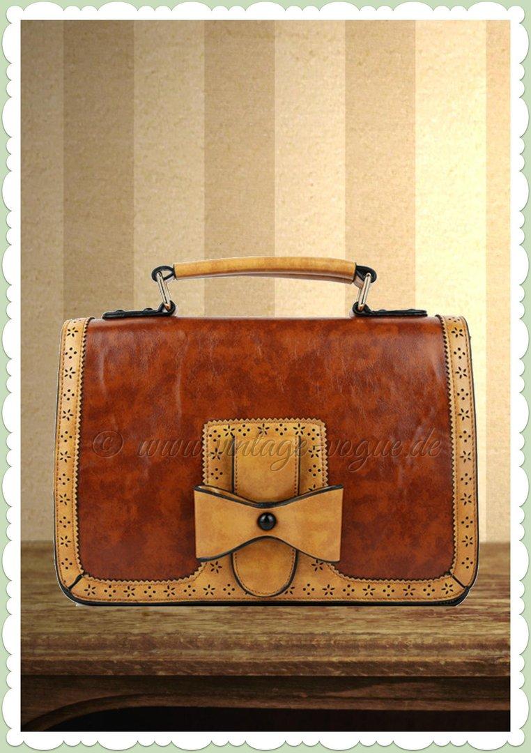 Banned 40er Jahre Vintage Schleifen Handtasche   Scandal   Braun Beige