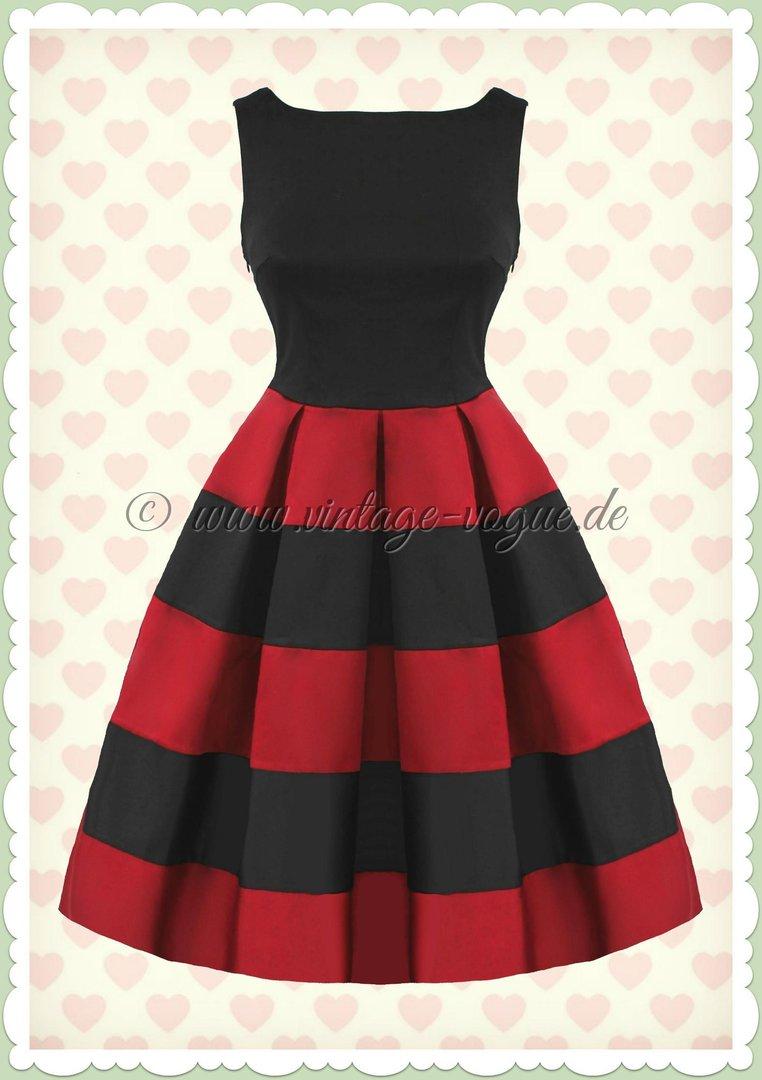 Dolly & Dotty 18er Jahre Streifen Petticoat Kleid - Anna - Rot Schwarz