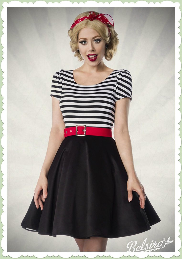 belsira 50er jahre rockabilly petticoat streifen kleid -lucy- schwarz weiß