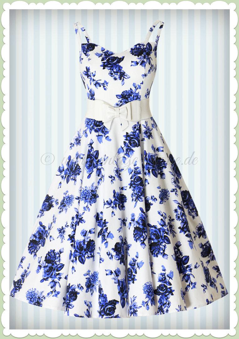 Hearts & Roses 17er Jahre Retro Rosen Petticoat Kleid - Rosaceae - Weiß