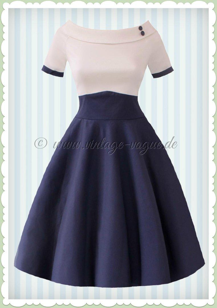 Dolly & Dotty 16er Jahre Rockabilly Petticoat Kleid - Darlene - Weiß Navy