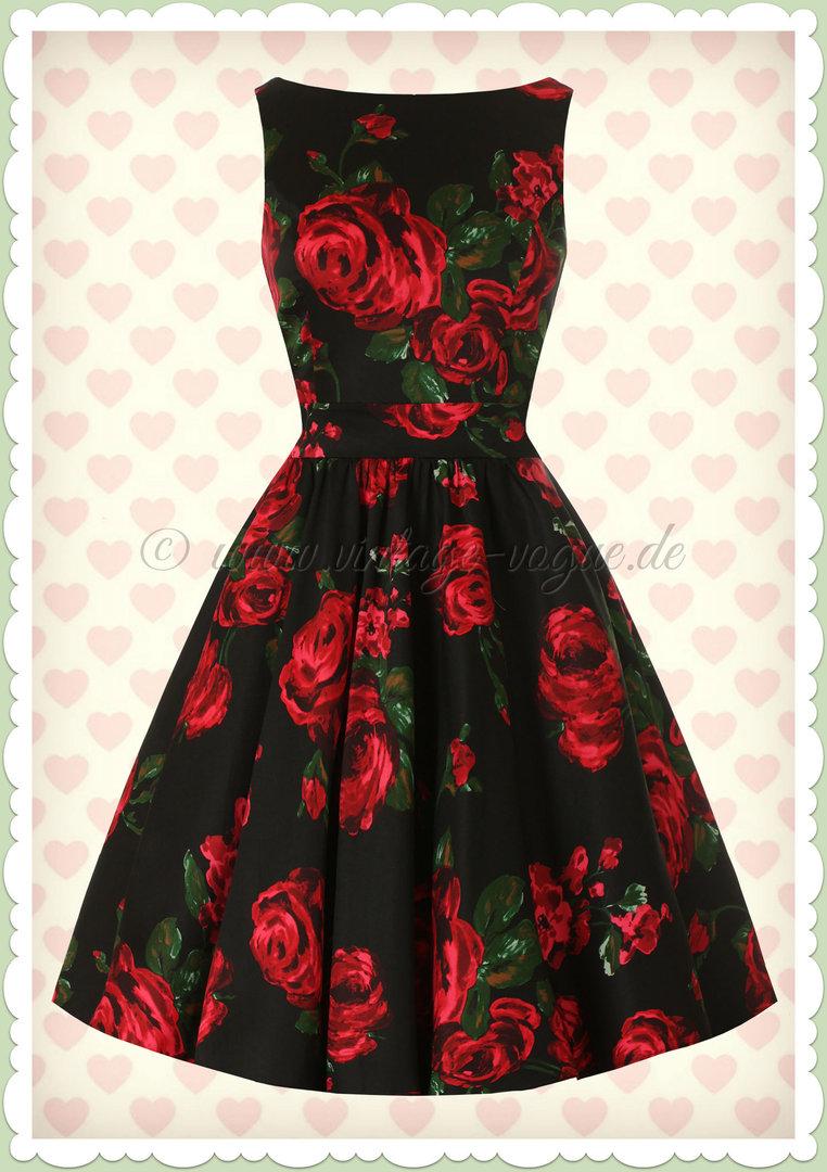 lady vintage 40er jahre vintage rosen kleid - red rose - rot schwarz