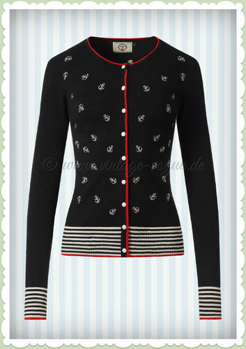 Banned 50er Jahre Vintage Pin Up Anker Cardigan - Close Call - Schwarz