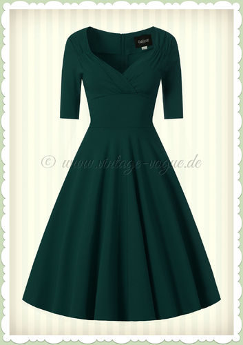 Collectif 40er Jahre Pin-Up Retro Swing Kleid - Trixie Doll - Petrol Grün