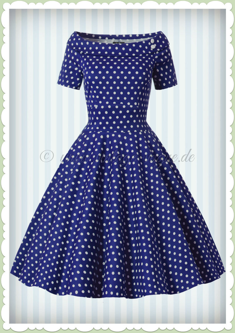 Dolly & Dotty 11er Jahre Rockabilly Punkte Kleid - Darlene - Navy Blau Weiß