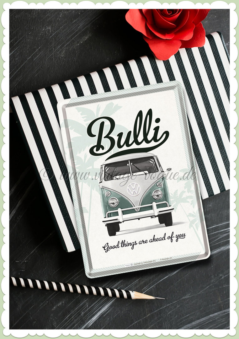 "Nostalgic Art Retro Oldtimer Blechpostkarte ""VW Good things are ahead..."""