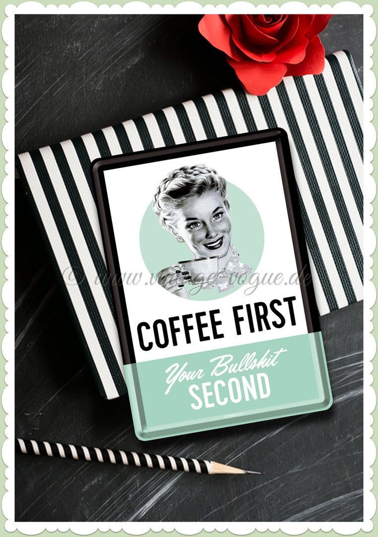 "Nostalgic Art Retro Kitchen Blechpostkarte ""Coffee First"""