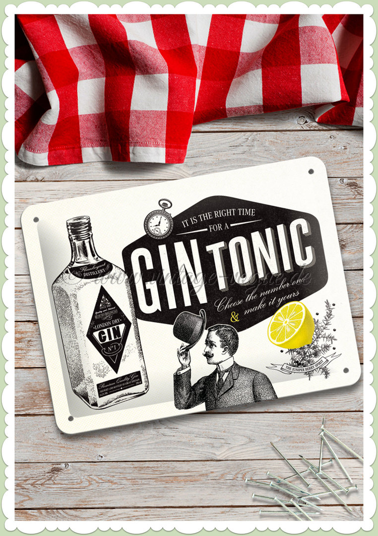 "Nostalgic Art Retro Kitchen Blechschild ""Gin Tonic"""