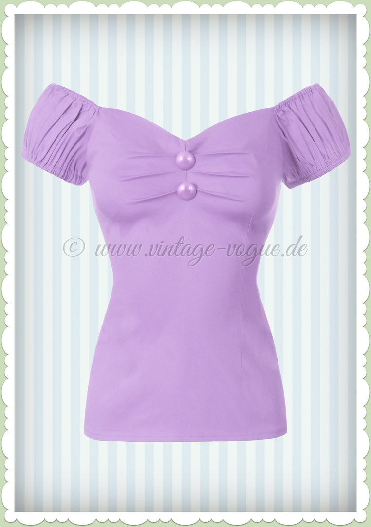 Collectif 50er Jahre Pin Up Vintage Top Shirt  - Dolores - Pastell Lila