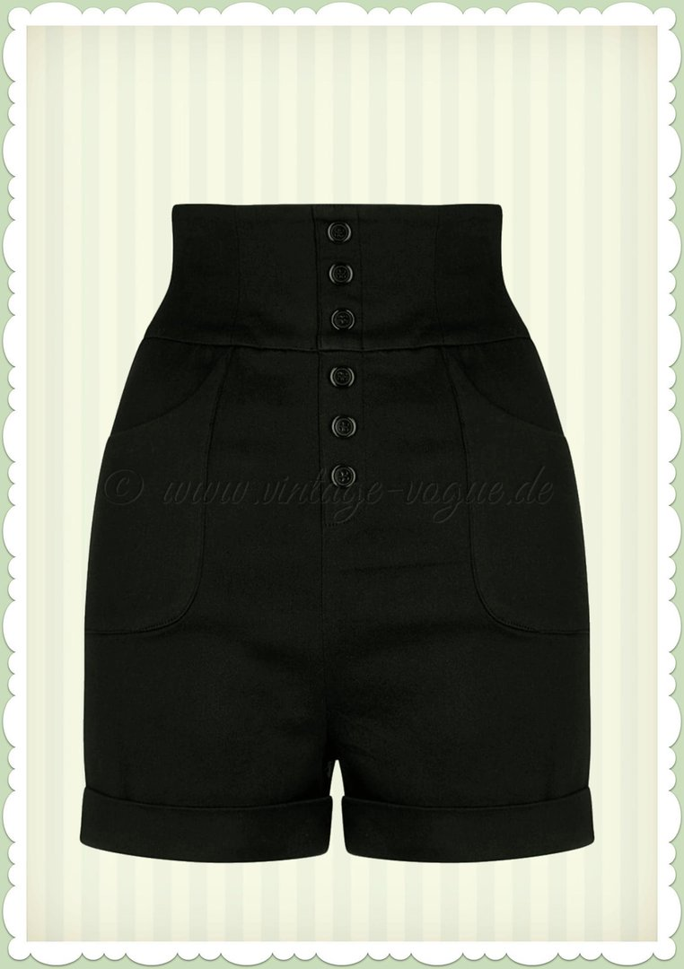 Collectif 50er Jahre Rockabilly Retro Pin Up Shorts - Naomi - Schwarz
