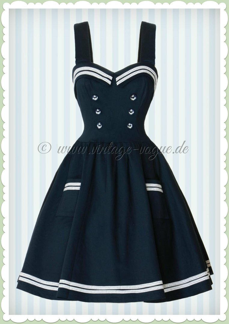Banned 50er Jahre Pin Up Sailor Mini Kleid - Where to next - Navy Blau