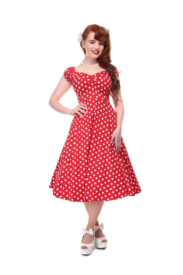 collectif 50er jahre retro rockabilly punkte kleid dolores doll rot. Black Bedroom Furniture Sets. Home Design Ideas
