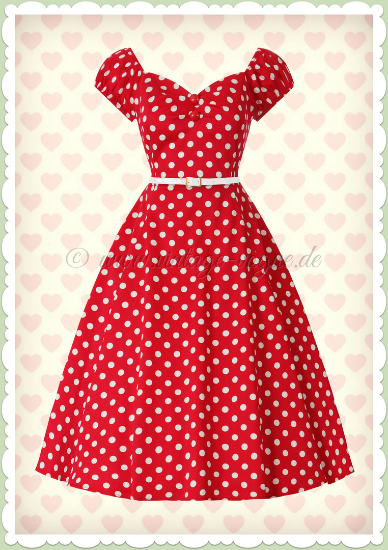 Collectif 50er Jahre Retro Rockabilly Punkte Kleid  - Dolores Doll - Rot