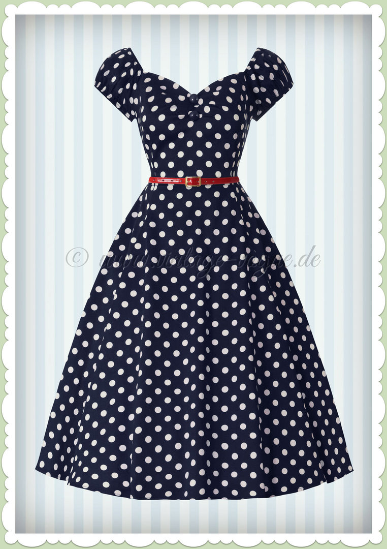 Collectif 50er Jahre Retro Rockabilly Punkte Kleid  - Dolores Doll - Navy