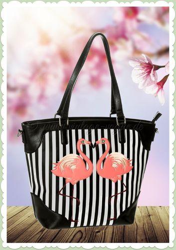 Banned 60er Jahre Retro Streifen Flamingo Tasche - Blair - Schwarz Weiß