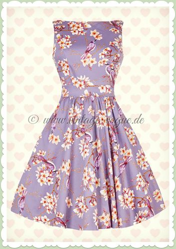 Lady Vintage 40er Jahre Vintage Blumen Kleid - Purple Birds - Lila