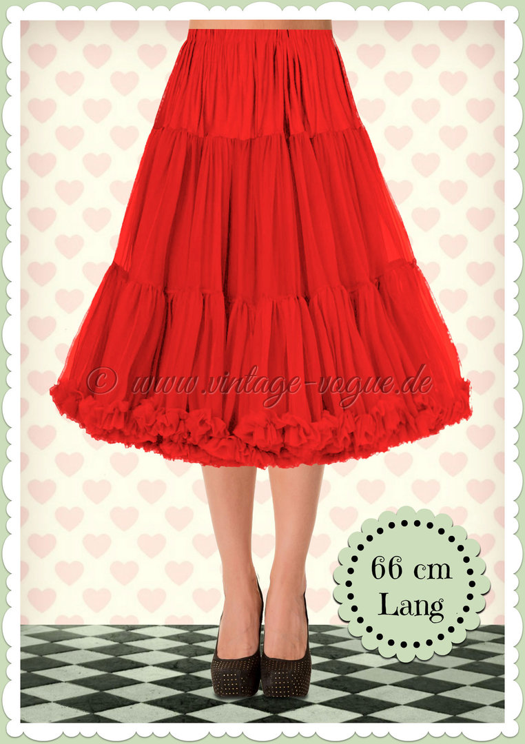 Banned 1950's Rockabilly Swing Petticoat Rüschen Tanzrock in Rot