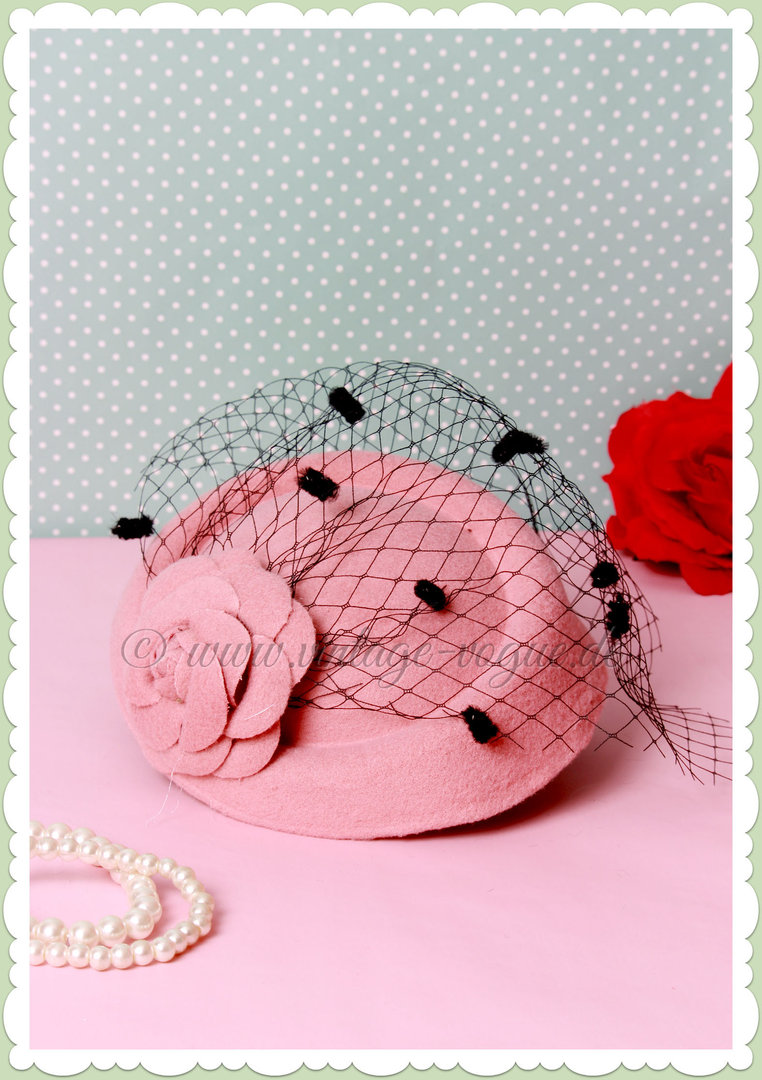Banned 40er Jahre Retro Vintage Fascinator Hütchen - Marilyn - Rosa