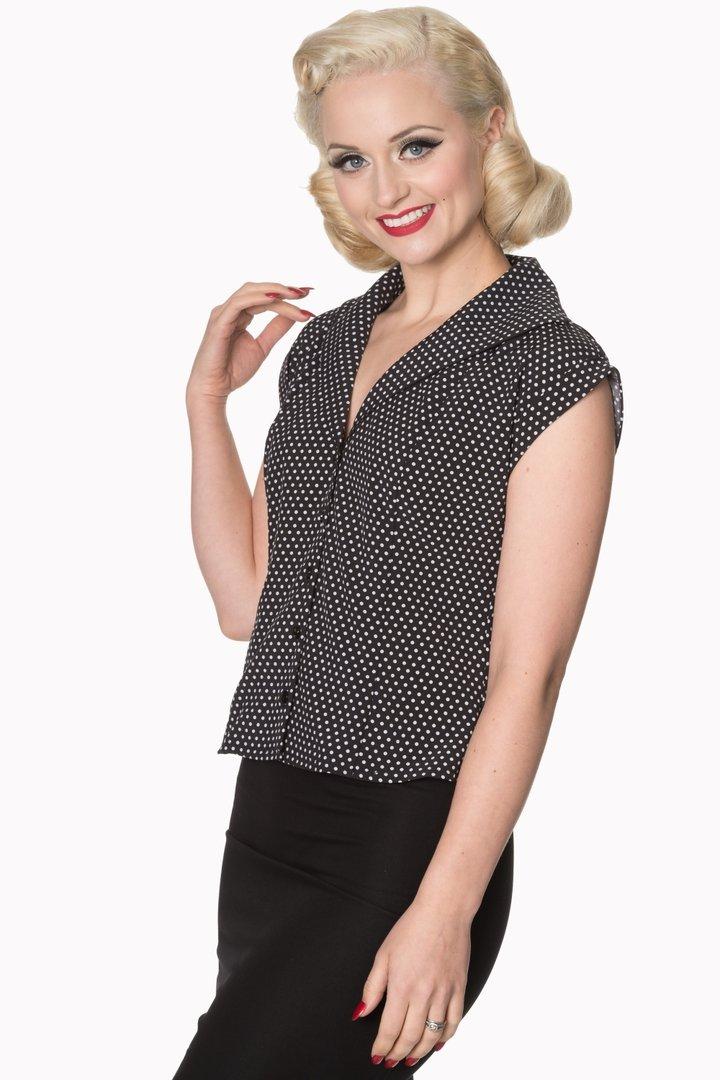 7a232d5fd90a0a Banned 50er Jahre Vintage Punkte Pin Up Bluse - Lovely - Schwarz Weiß