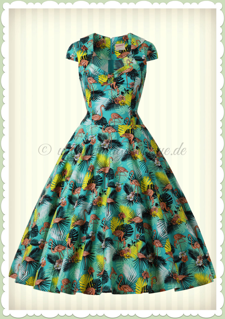 banned 50er jahre rockabilly pin up flamingo kleid - wanderlust - türkis