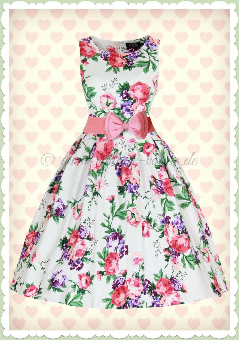 dolly & dotty 50er jahre retro blumen petticoat kleid - annie - weiß pink