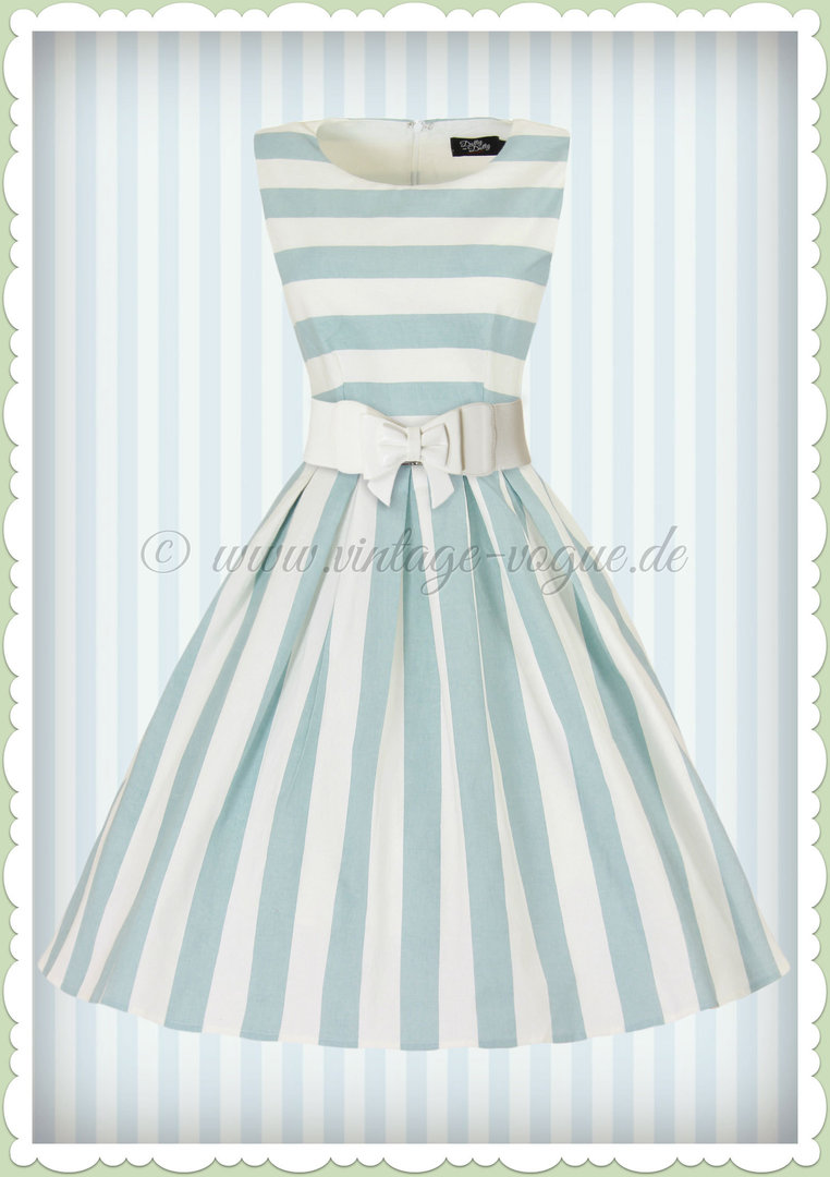 Dolly & Dotty 18er Jahre Streifen Petticoat Kleid - Annie - Hellblau Weiß