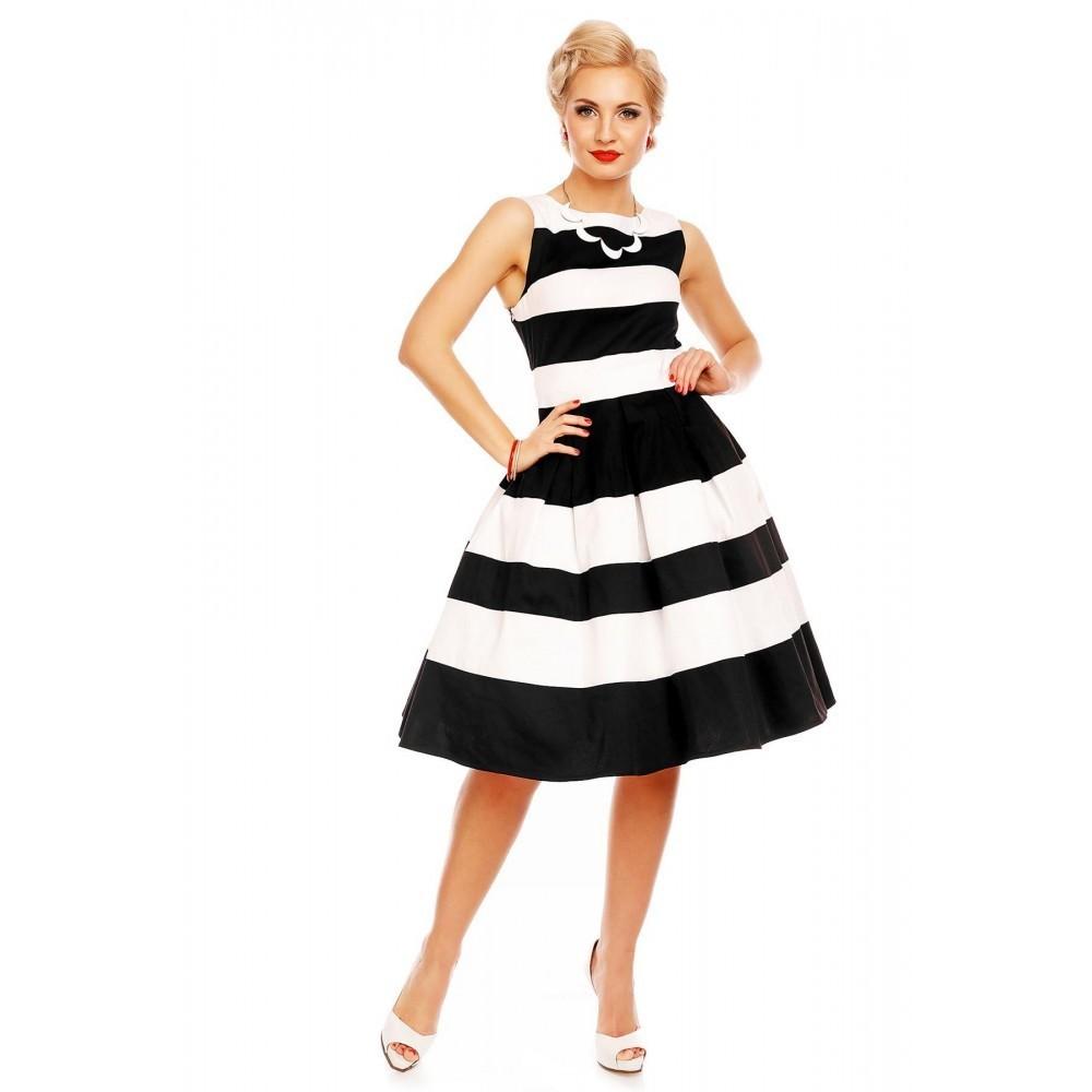 35bcf11f4fae Dolly   Dotty 50er Jahre Petticoat Streifen Kleid - Aurora - Schwarz Weiß