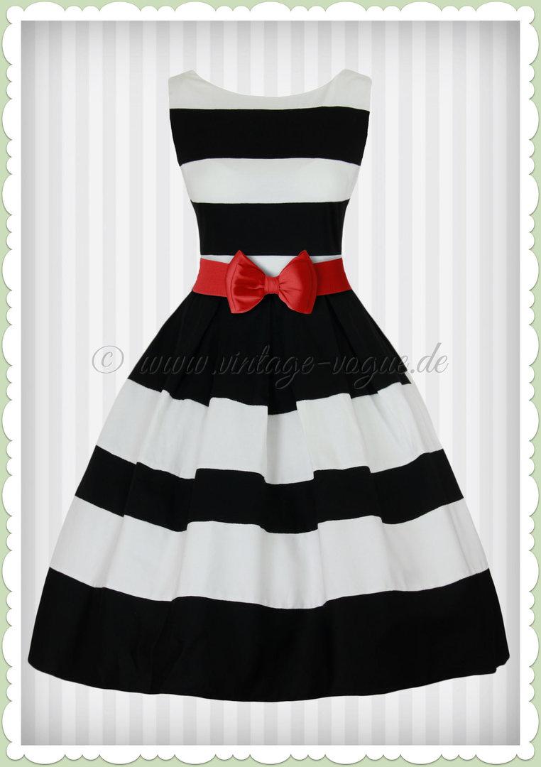 dolly & dotty 50er jahre petticoat streifen kleid - aurora - schwarz weiß