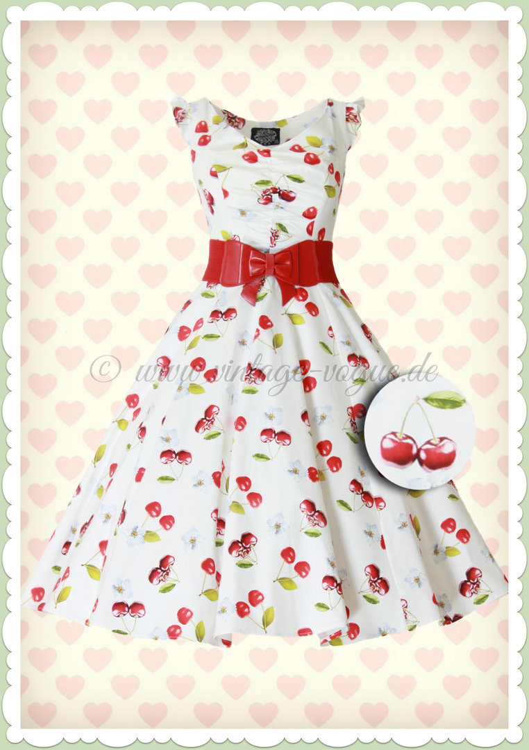 Hearts & Roses 50er Jahre Vintage Petticoat Kleid - Sweet Cherry - Weiß Rot
