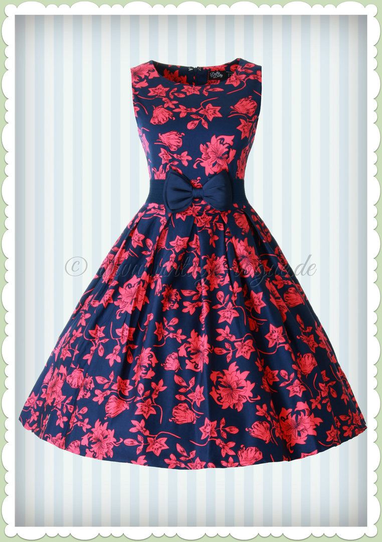 Dolly & Dotty 50er Jahre Retro Floral Petticoat Kleid - Annie - Blau Rot