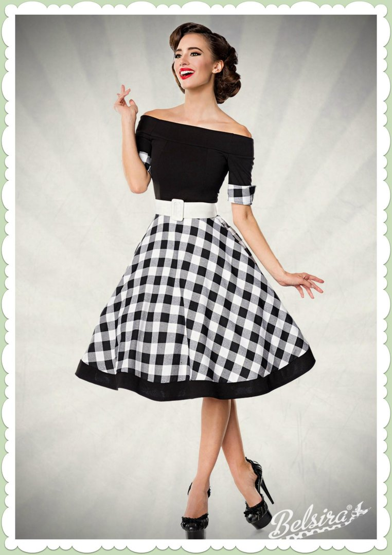 belsira 50er jahre rockabilly petticoat kleid gingham schwarz wei. Black Bedroom Furniture Sets. Home Design Ideas