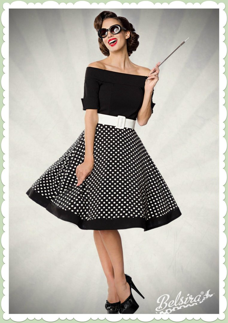 belsira 50er jahre rockabilly petticoat kleid polka dots. Black Bedroom Furniture Sets. Home Design Ideas