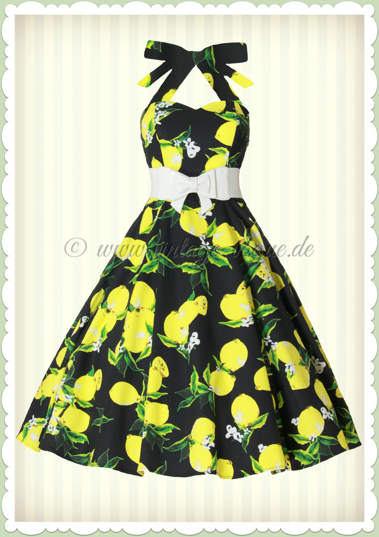 hearts & roses 50er jahre retro zitronen petticoat kleid - lemon - schwarz