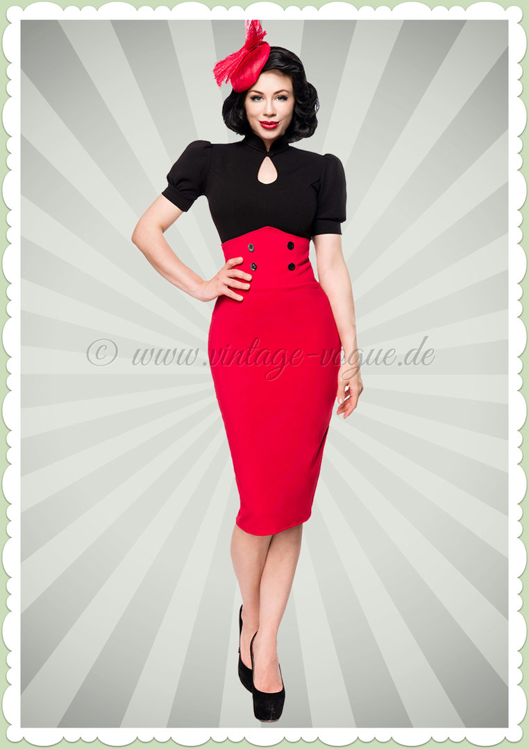 Belsira 50er Jahre Retro Rockabilly Bleistift Rock - High Waist - Rot