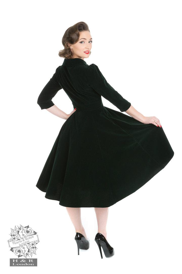 hearts roses 50er jahre samt petticoat kleid glamorous velvet gr n. Black Bedroom Furniture Sets. Home Design Ideas