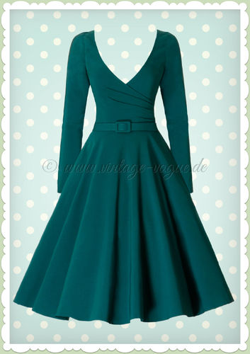 Collectif 40er Jahre Pin-Up Retro Swing Kleid - Nicky Doll - Petrol Grün