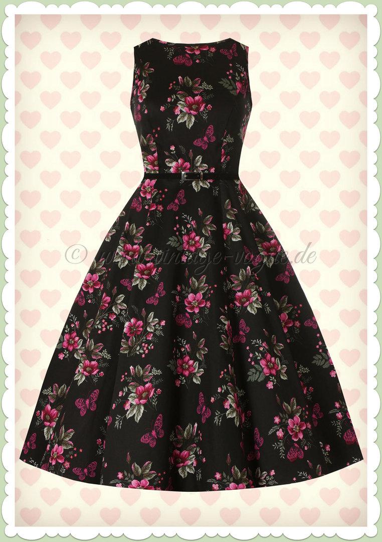 Lady Vintage 17er Jahre Retro Blumen Butterfly Kleid - Hepburn - Schwarz