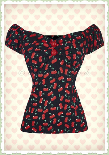 Collectif 50er Jahre Vintage Top - Dolores Small Cherries - Schwarz Rot