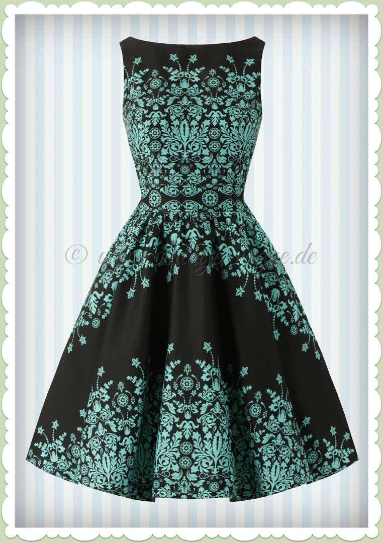 Lady Vintage 40er Jahre Retro Floral Border Kleid - Tea Dress - Schwarz