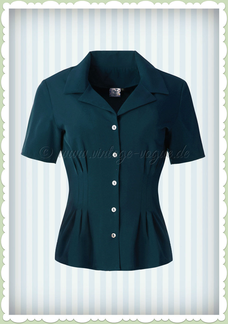 Banned 40er Jahre Vintage Retro Pin Up Bluse - Corin - Petrol Blau