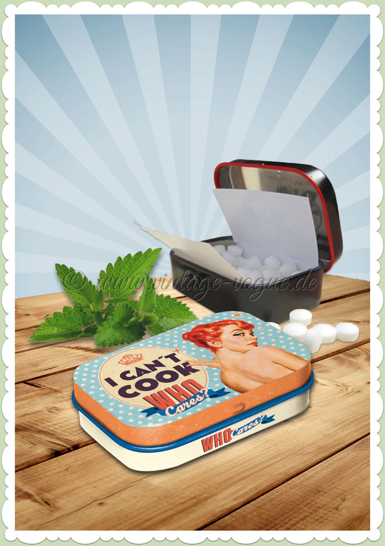 "Nostalgic Art Retro Say It 50´s Pillendose ""Can´t Cook, Who Cares?"""