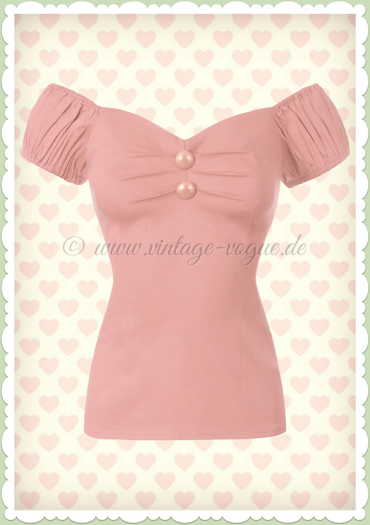 Collectif 50er Jahre Pin Up Vintage Top Shirt  - Dolores - Pastell Rosa