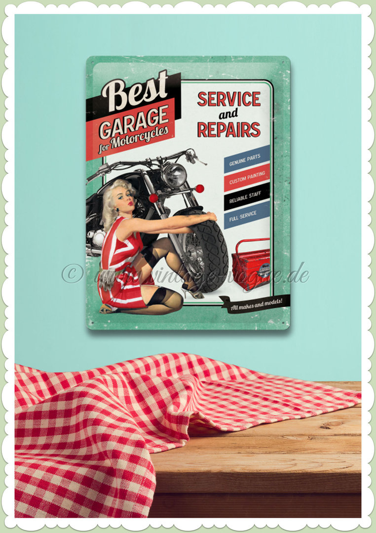 "Nostalgic Art Retro Vintage Blechschild ""Best Garage Green"""