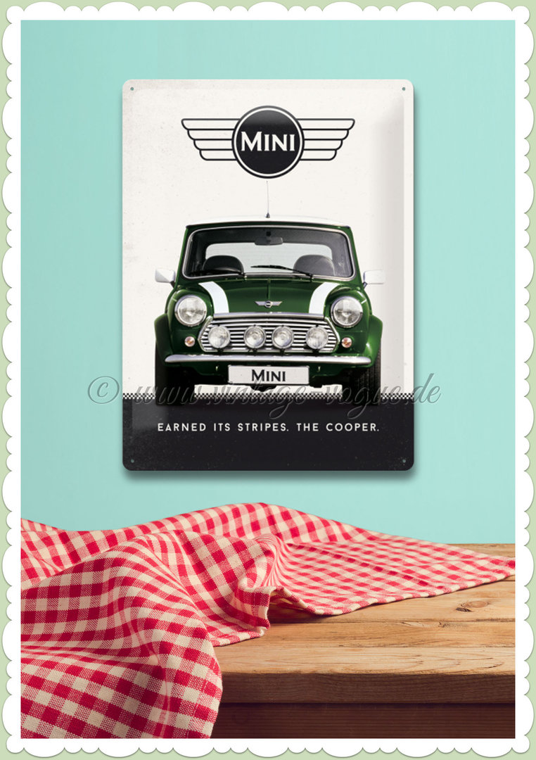 "Nostalgic Art Retro Mini Blechschild ""Mini Cooper Green"""