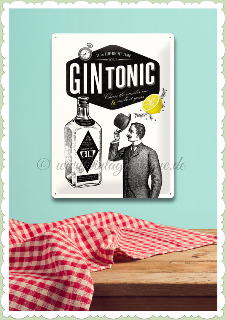 "Nostalgic Art Retro Open Bar Blechschild ""Gin Tonic"""