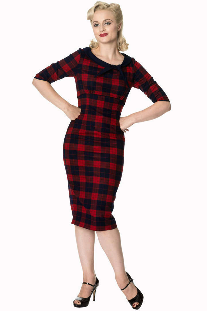 f2d929e047d637 Banned 50er Jahre Retro Tartan Pencil Kleid - Take Me To Paris - Navy Rot