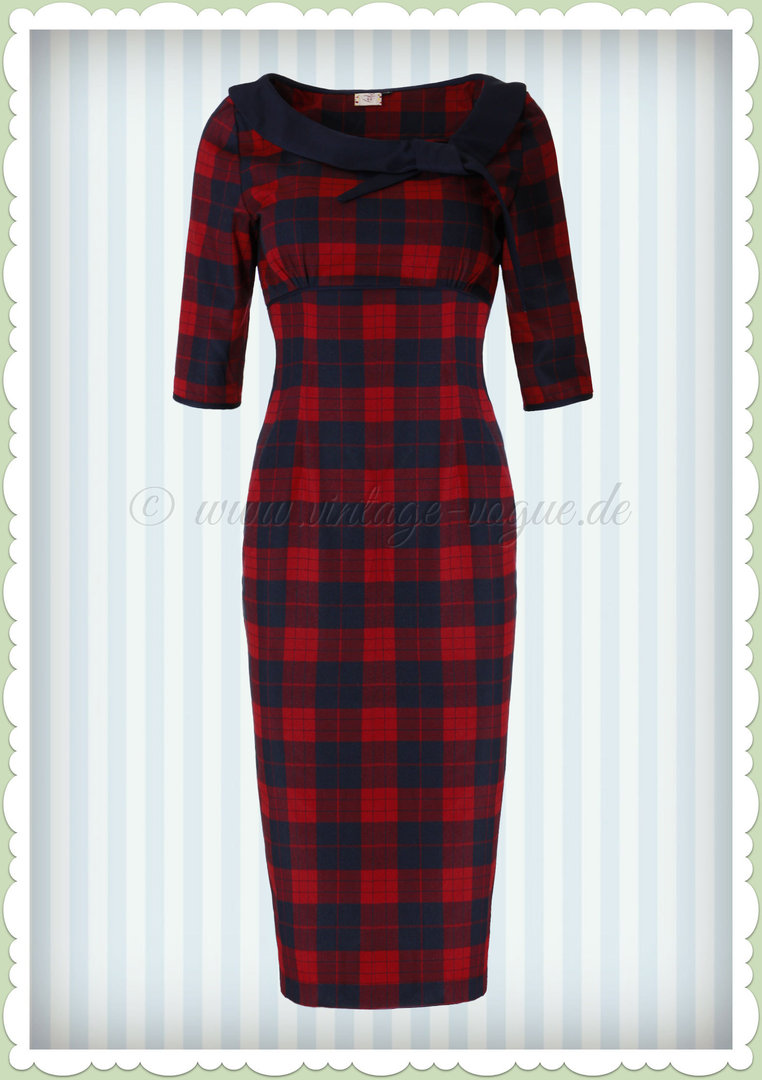 Banned 50er Jahre Retro Tartan Pencil Kleid - Take Me To Paris - Navy Rot